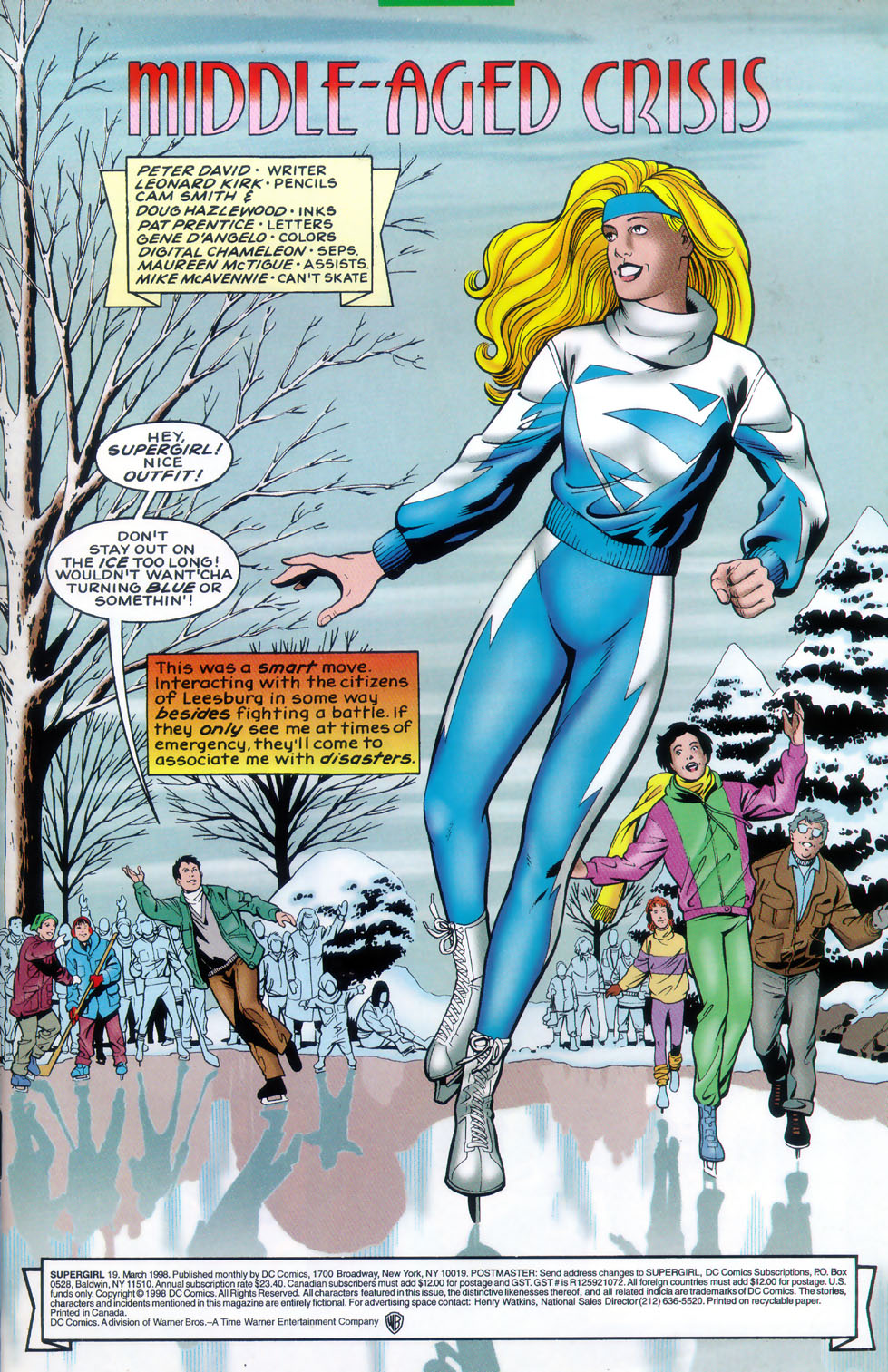 Supergirl skating in a white and blue outfit
