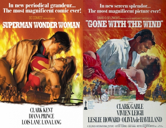 Superman-Wonder-Woman-Comic-Gone-With-The-Wind-Movie-Cover