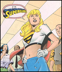 Supergirl in a cropped white t-shirt and blue mini-skirt
