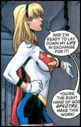 An older looking Supergirl in a long white top and blue skirt