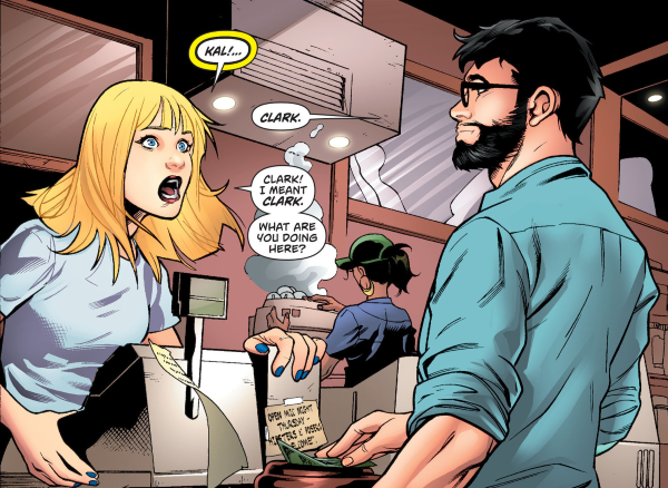 Clark walks into Kara's coffee shop in Supergirl 36 (2015)
