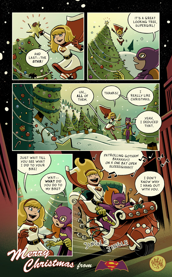 """""""Supergirl/Batgirl Christmas 2013"""" by Mike Maihack"""