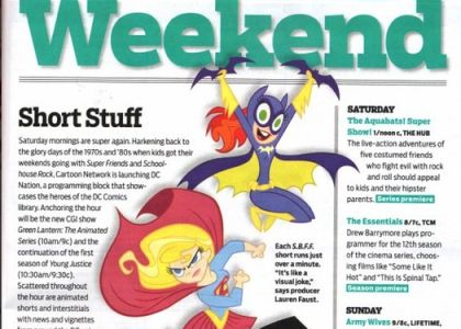 scan of TV Guide interview with Lauren Faust, featuring cartoon images of Supergirl, Batgirl, Wonder Girl