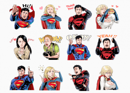 """Superman, Lois Lane, Supergirl, Power Girl, Superboy and Jimmy Olson virtual phone stickers"