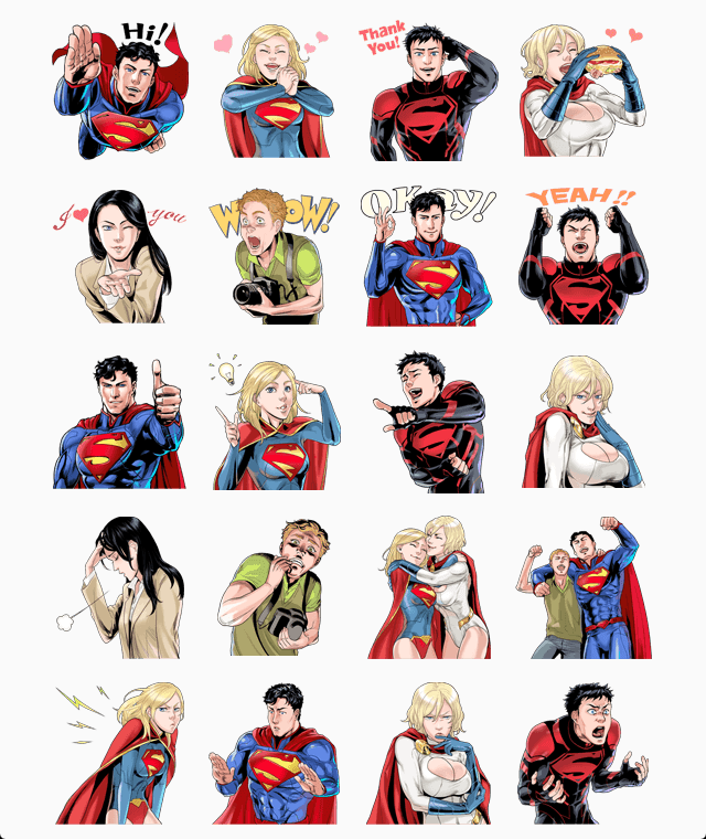 Superman, Lois Lane, Supergirl, Power Girl, Superboy and Jimmy Olson virtual phone stickers