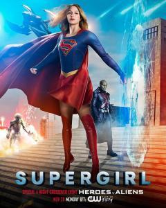 Supergirl Season 2 Crossover Poster - Heroes v Aliens