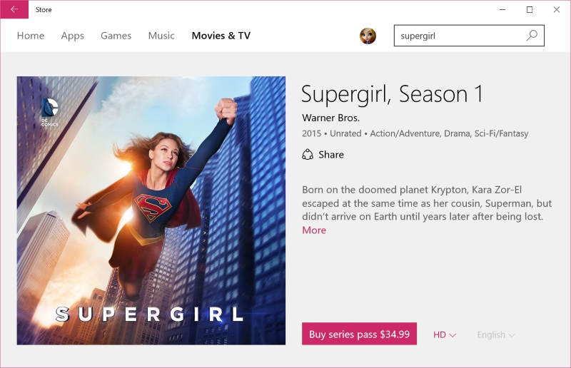Supergirl Season 1 available on Microsoft Store, PlayStation